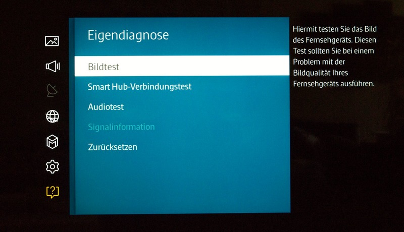 Samsung Bildfehler Testbild Eigendiagnose