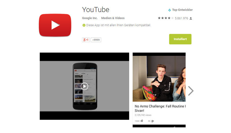 Google Play Store Youtube App
