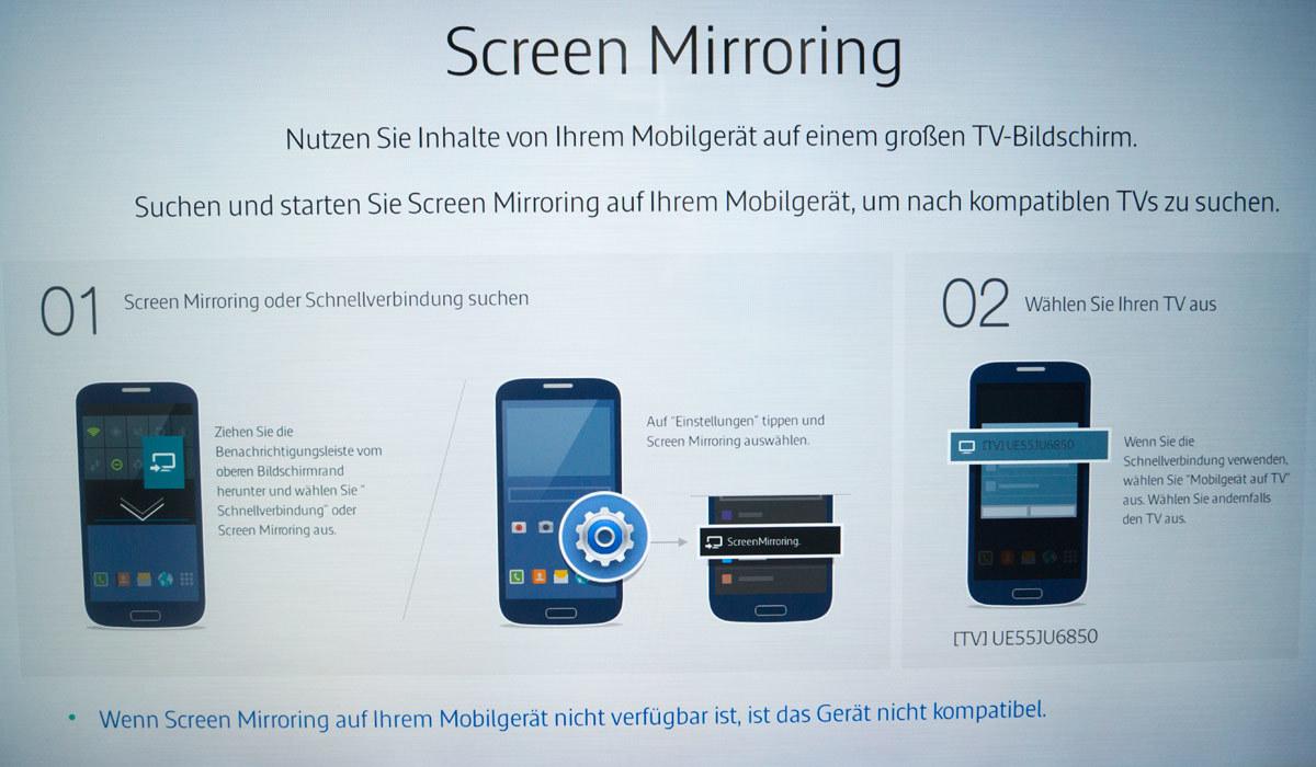 Handy mit dem TV verbinden Samsung Screen Mirroring